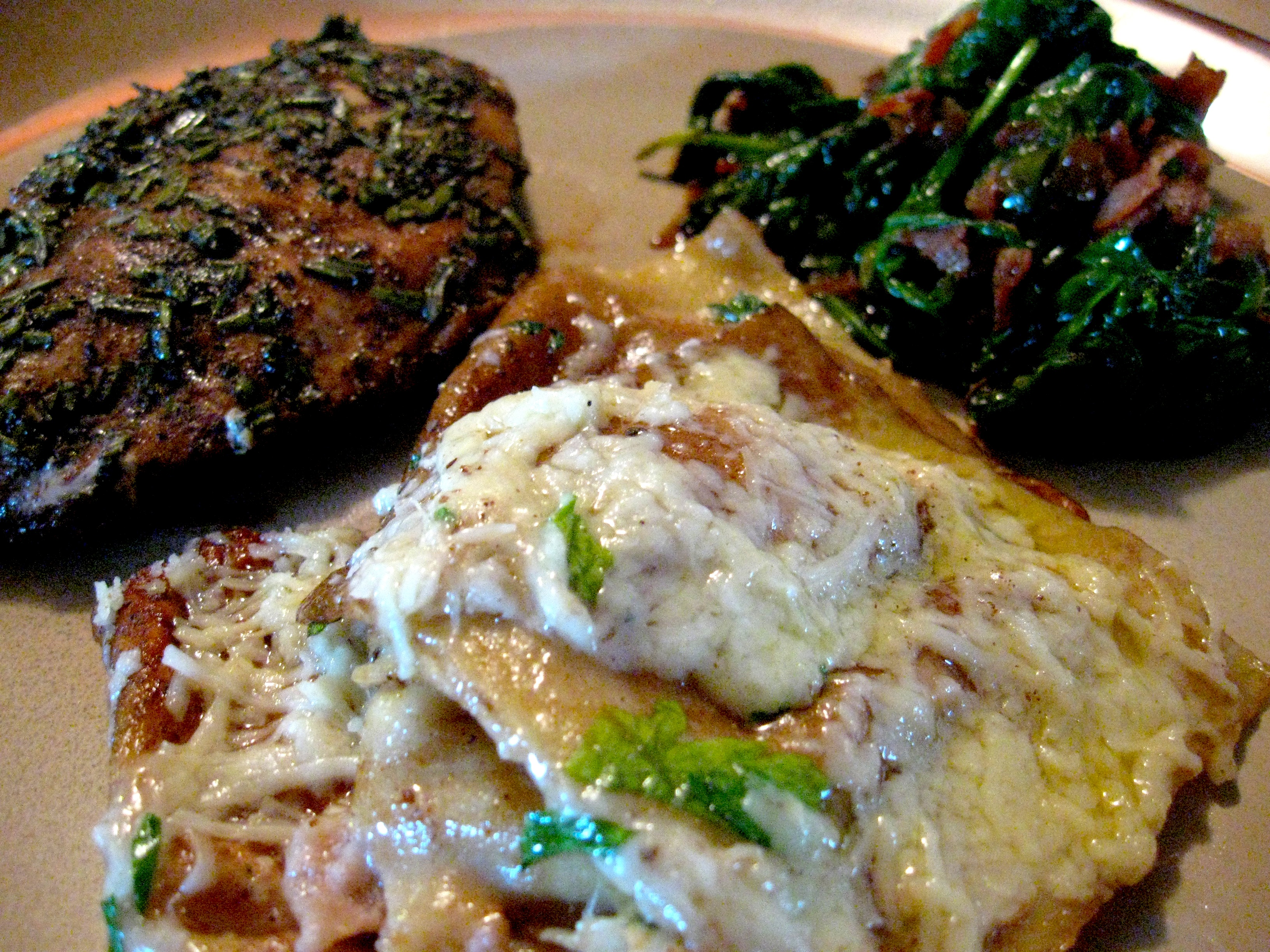 Chicken Breasts, Brown Butter and Balsamic Ravioli, Warm Spinach ...